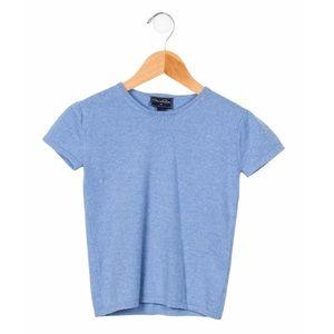 OSCAR DE LA RENTA Girls' Short Sleeve Cashmere Top
